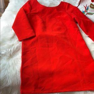Boohoo red scalloped back dress